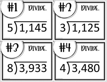 Divide by 1- Digit Divisors (Task Cards & MATHO)