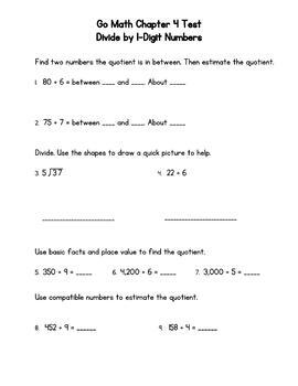 Divide by 1-Digit Numbers Test (Go Math Chapter 4 4th Grade)