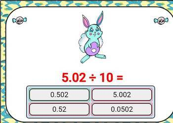 Divide by 10, 100, and 1000. Digital Boom Cards Eureka grade 5 unit 1 lesson 2