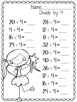 Divide by 4. Worksheets. Division. Three. Review
