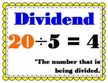 Divide by a One-Digit Number My Math 4th Grade Vocabulary Posters