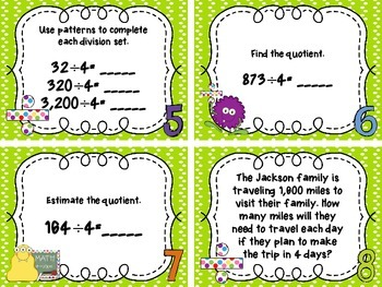 Divide by a One Digit Number Task Cards