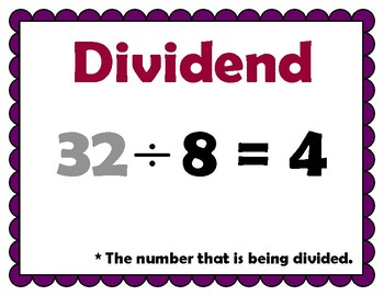 Divide by a Two Digit Divisor 5th Grade My Math Vocabulary Posters
