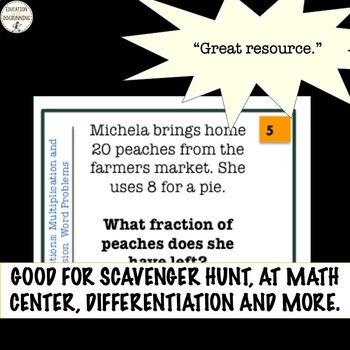 Fractions Multiplication and Division Word Problems Task Card Activity