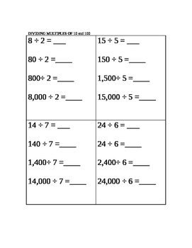 Divide using patterns and base 10 knowledge