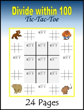 Divide within 100 Tic-Tac-Toe