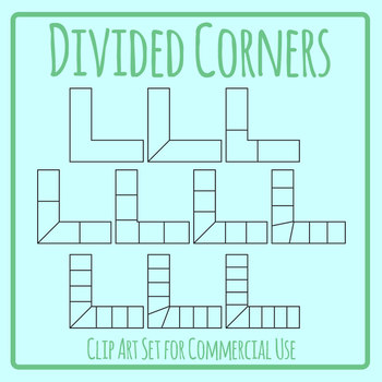 Divided Corners - Sectioned L Shapes for Patterns or Sequence Clip Art Set