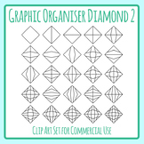 Divided Diamond Shape 2 Graphic Organizer Templates Clip Art for Commercial Use