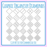 Divided Diamond Shape Graphic Organizer Templates Clip Art for Commercial Use