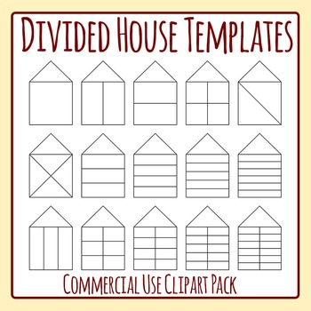 Divided House Templates Clip Art  for Commercial Use