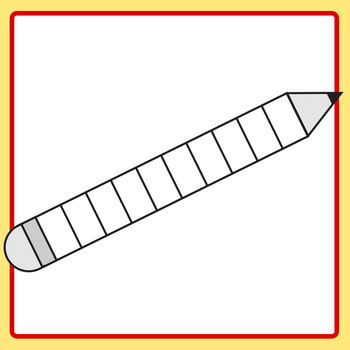 Divided Pencil for Fractions, Patterns or Sequencing Clip Art for Commercial Use