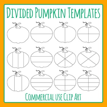 Divided Pumpkin Templates Clip Art Set for Commercial Use
