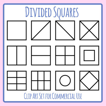 Divided Squares Template Clip Art Set for Commercial Use