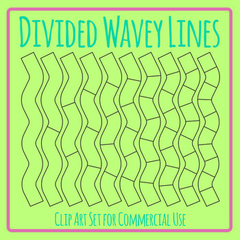 Divided Wavey Lines Graphic Organizer Template Clip Art Set Commercial Use