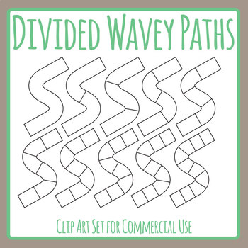 Divided Wavey Lines Graphic Organizer Template for Games or Patterns Clip Art