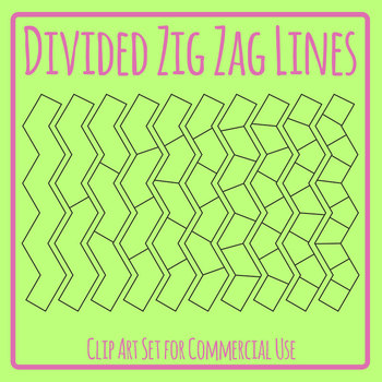 Divided Zig Zag Lines Graphic Organizer Template Clip Art Set Commercial Use