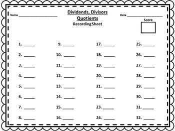 Dividends, Divisors, Quotients - 32 Task Cards