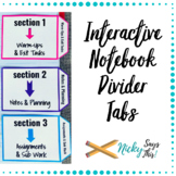 Divider Tabs for Interactive Notebooks