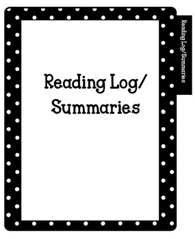 Divider Tabs for Reading Response Journals