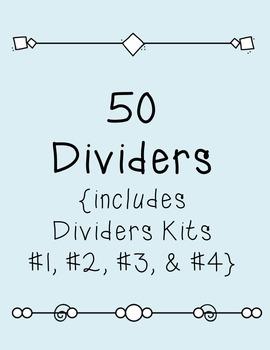 Dividers BUNDLE SET #1 Clipart ~ 50 Dividers~ Commercial Use OK