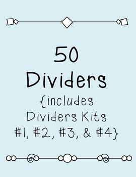 Dividers BUNDLE SET #1 Clipart ~ 50 Dividers~ Commercial Use OK