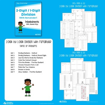 Dividing 2-Digit by 1-Digit Numbers, Division Practice Worksheets