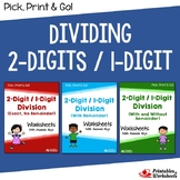 Dividing 2-Digit by 1-Digit Numbers, Division Practice Sheets