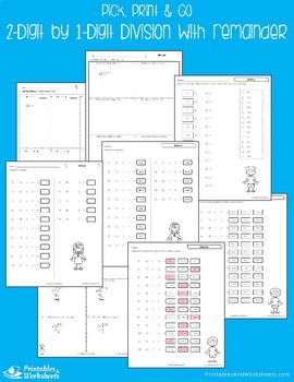 Dividing 2-Digit by 1-Digit Numbers - Division With Remainder Worksheets