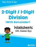 2 Digit Dividend By 1 Digit Divisor Division With Remainder Worksheets