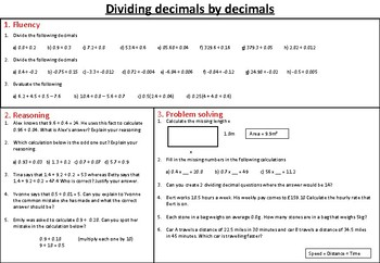 Dividing decimals - mastery worksheet