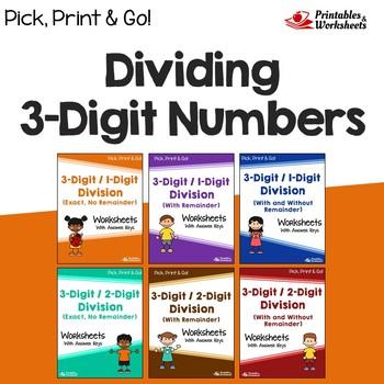 Dividing 2 And 3 Digit Numbers, Standard Algorithm Division Worksheets Practice