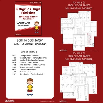 Dividing 3-Digit by 2-Digit Numbers, Long Division Practice Worksheets