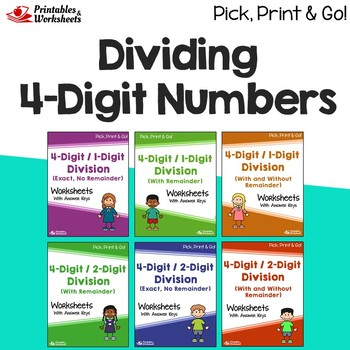 Dividing 4 Digit Numbers Worksheets With Answer Keys