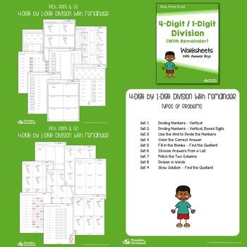 Multi-Digit Long Division Challenge, 2 Digit Divisors By 4 Digit Dividends Sheet