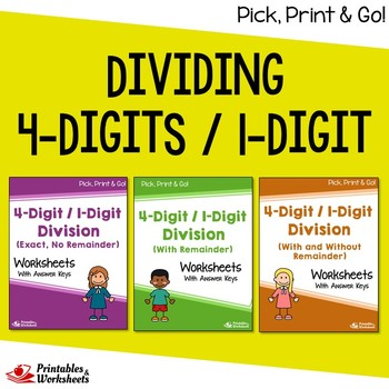 Dividing 4-Digit by 1-Digit Numbers, Long Division Practic