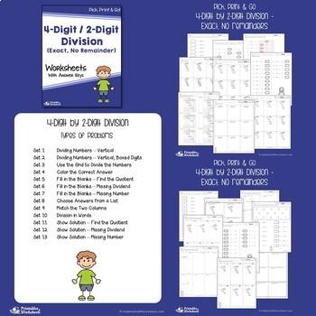 Dividing by 2 Digit Divisor Worksheets 4 Digit / 1 Digit  Long Division Practice
