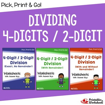 Dividing 4-Digit by 2-Digit Numbers, Division Practice Worksheets