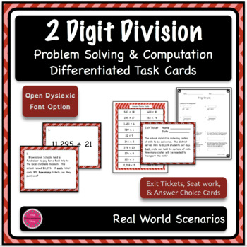 Dividing 4+ by 2 Digits Differentiated Word Problem Task Cards with Exit Ticket