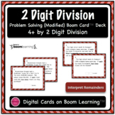 Dividing 4+ by 2 Digit {Modified} Word Problem Boom Card Deck - Open Ended