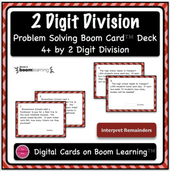 Dividing 4+ by 2 Digit Word Problem Boom Card Deck - Open Ended Questions