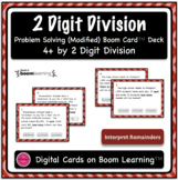 Dividing 4+ by 2 Digit Word Problem Boom Card Deck {With Visual Supports}