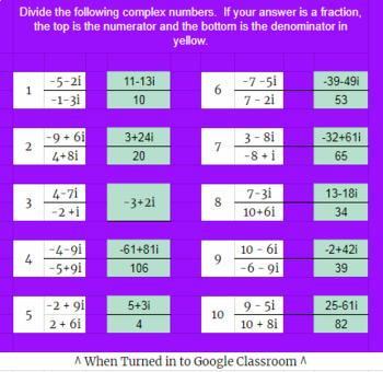 Dividing Binomial Complex Numbers-Rationalizing the Denominator-Google Classroom