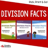 Dividing By 2-10 - Division Facts Worksheets With Answer Keys