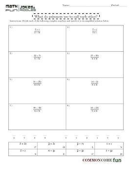 Dividing Complex (Imaginary) Numbers FUNsheet