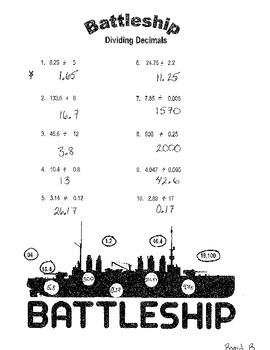 Battleship Game:  Dividing Decimals