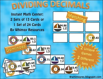 Dividing Decimal Domino Math Center Nautical
