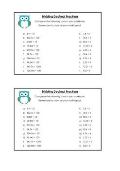 Dividing Decimal Fractions