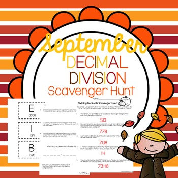 Word Problem Decimal Division Scavenger Hunt