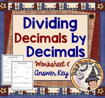 Dividing Decimal by Decimal Division Homework Worksheet Practice Divide