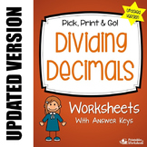Division With Decimals, Includes Dividing Decimal by Whole Numbers Worksheets